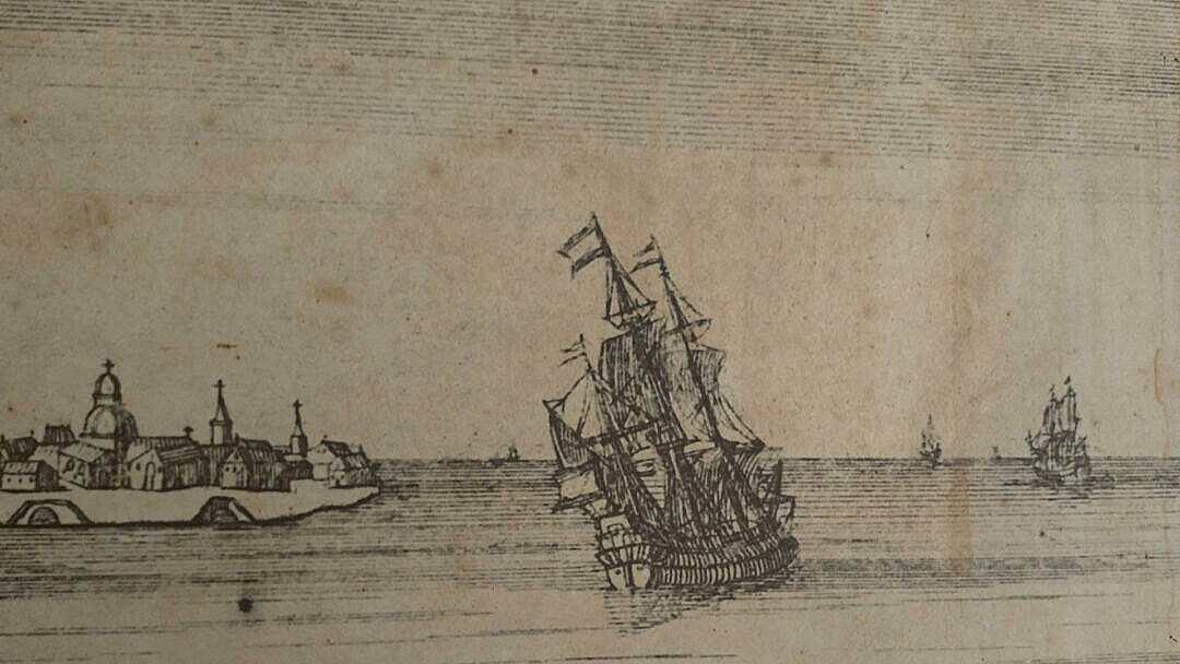 An incision of a Venetian galleon