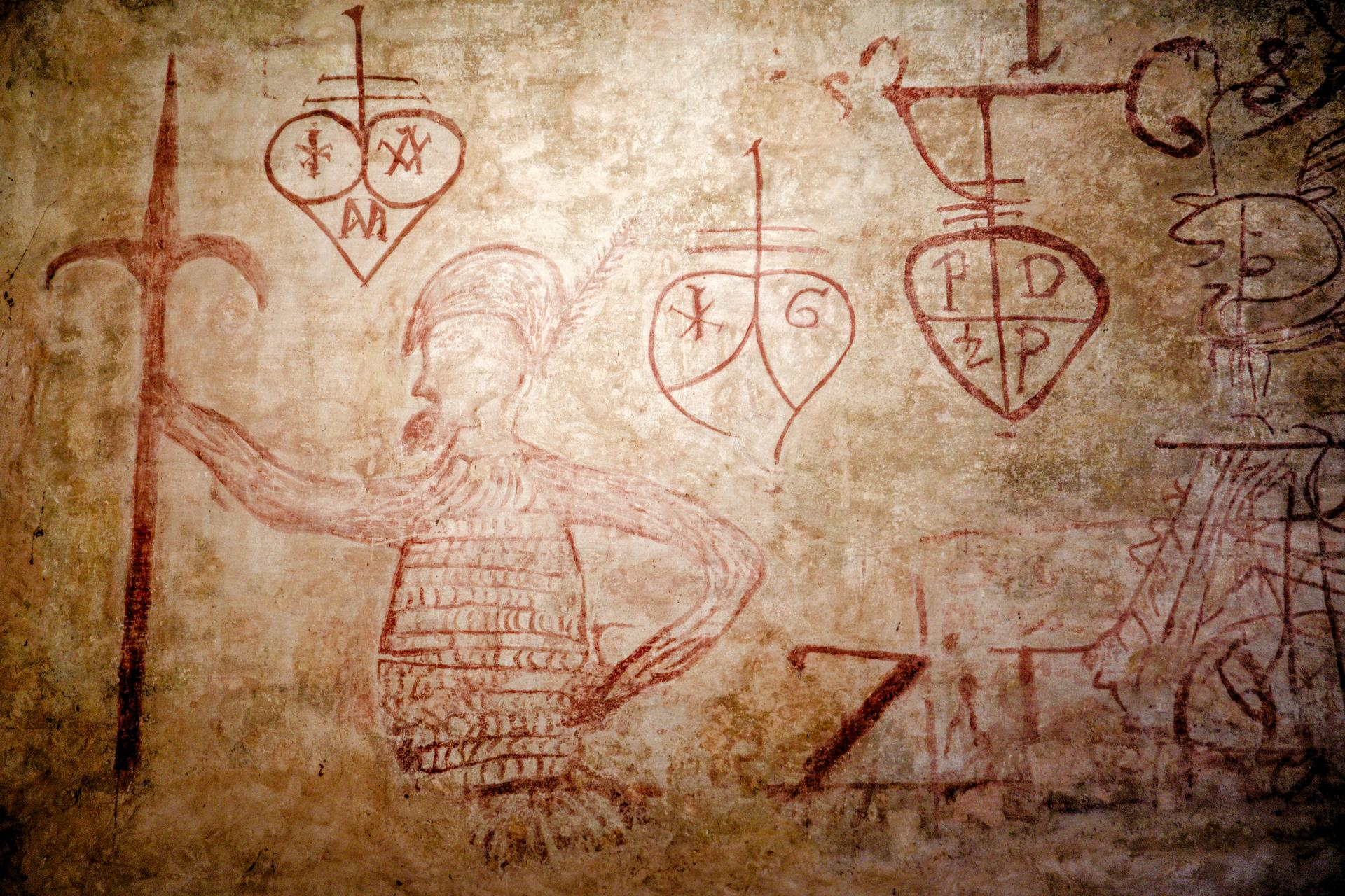 Drawings on the walls on Lazzaretto Nuovo island, from the 16th century